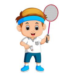 young boy playing badminton vector image vector image