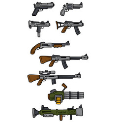 cartoon weapons and firearms icons vector image