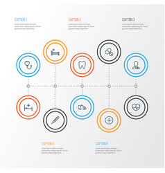 drug outline icons set collection of tablets bed vector image