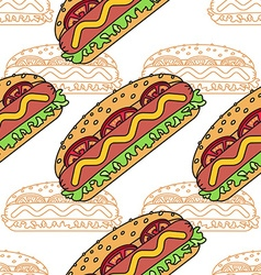 Hot dog seamless pattern flat and thin line design vector