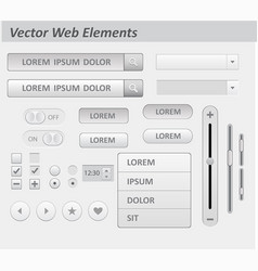 set of flat white design ui and ux elements vector image vector image