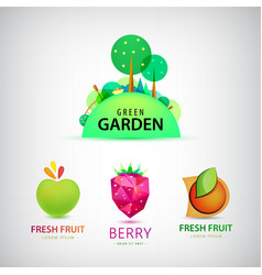 set of fruit garden logos healthy food vector image