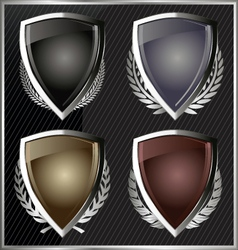 Silver Shields with laurel wreaths vector image
