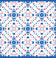 blue red pattern flower boho background vector image
