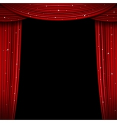 Glittering red curtain open vector