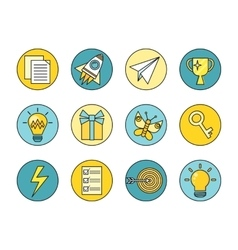 Idea generation round icon set vector