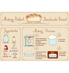 Recipe of homemade bread with ingredients Hand vector image vector image