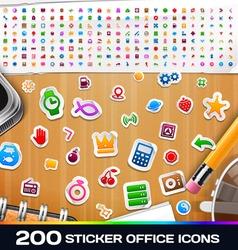 200 Sticker Universal Icons Set 2 vector image