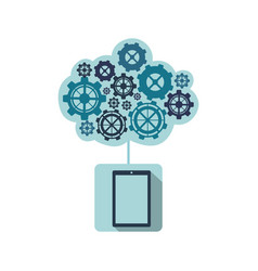blue smartphone with cloud of gears icon vector image vector image