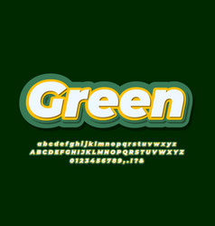 3d green and yellow text effect or font effect vector