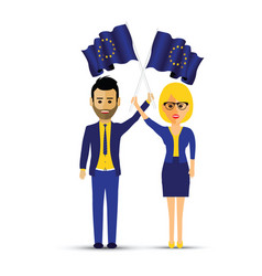 a couple with european waving flags vector image