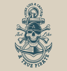 a pirate skull with vintage anchor vector image
