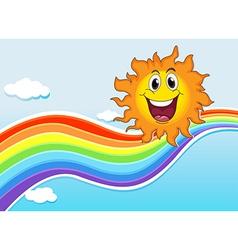 A smiling sun near the rainbow vector