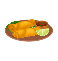 Appetizing thai food deep fried meat and spicy vector