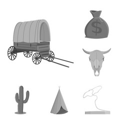 attributes of the wild west monochrome icons in vector image