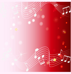 background design with musicnotes on red vector image