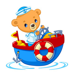 Bear sailor on boat cartoon vector