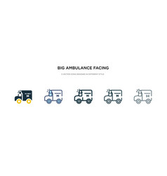 Big ambulance facing left icon in different style vector