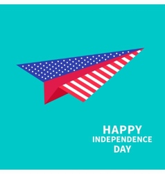 Big paper plane dash line happy independence day vector