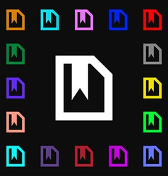 bookmark icon sign Lots of colorful symbols for vector image