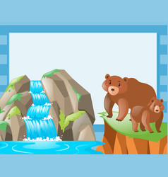 border template with two bears at waterfall vector image