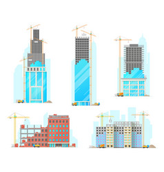 building construction isolated icons vector image