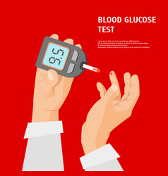 cartoon diabetes concept hands holding glucometer vector image