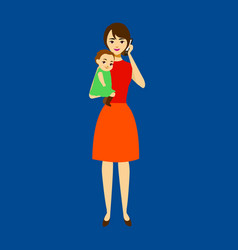 cartoon mom with baby concept character vector image