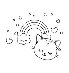 cat with cloud and rainbow black and white vector image