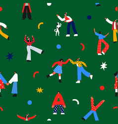 christmas people cartoon party seamless pattern vector image