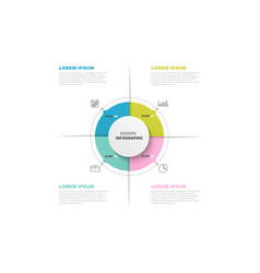 Circle infographic template with icons and 4 vector