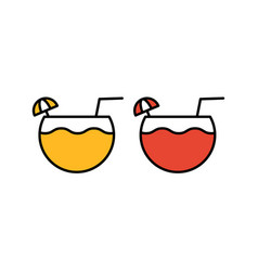 cocktail icon glass with drink icons vector image