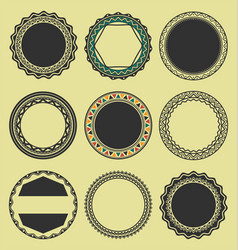 Collection of round decorative border frames vector