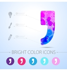 Comma icon with infographic elements vector