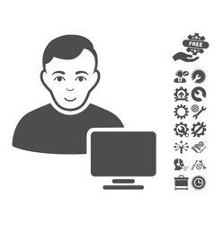 Computer Administrator Icon With Tools vector