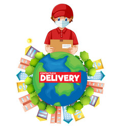 Contactless delivery logo with delivery man vector