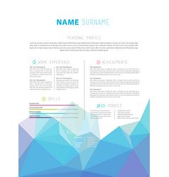 Creative simple cv template with colorful low vector