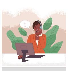 Dark-skinned female operator call center vector