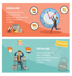 deadline and time management banners set with vector image