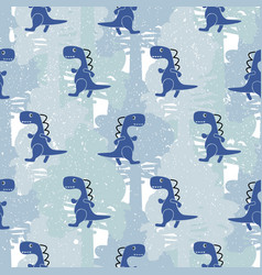 Dino blue color boy seamless pattern vector