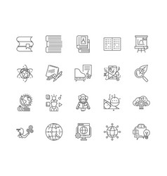 Distance education line icons signs set vector