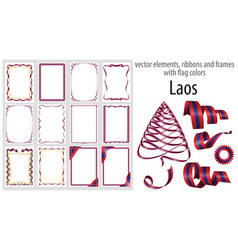 elements ribbons and frames with flag colors laos vector image