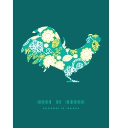 Emerald flowerals rooster silhouette Easter vector