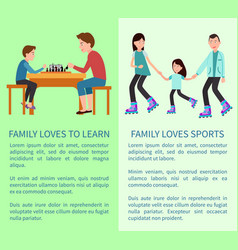 Family loves to learn and sports bright cards vector