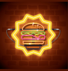 Fast food burger neon label vector