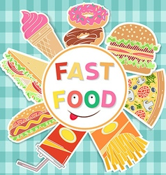Fast food colorful flat design vector image