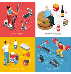 Fitness sport nutrition isometric concept vector