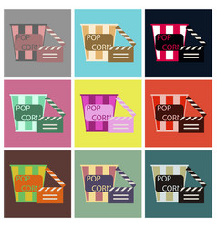 Flat icons set popcorn cinema vector