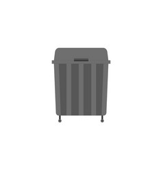 garbage can icon in flat style black trash can vector image
