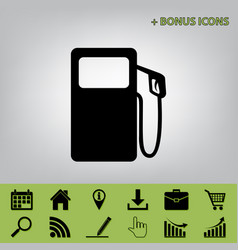 Gas pump sign black icon at gray vector